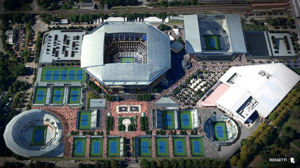 Vue aérienne sur le USTA Billie Jean King National Tennis Center après transformations