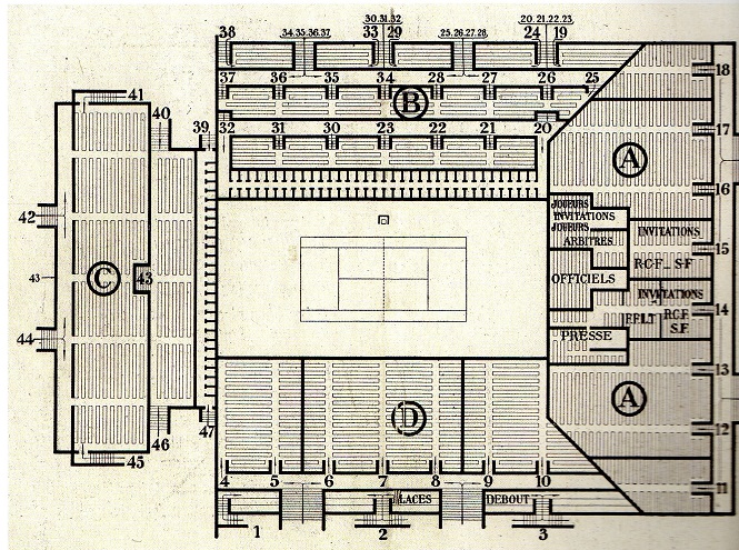 Plan du court central en 1929 ©Tennis et Golf