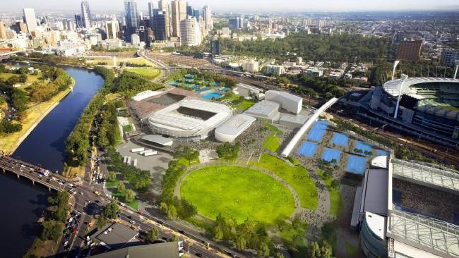 The Melbourne Park redevelopment from above.