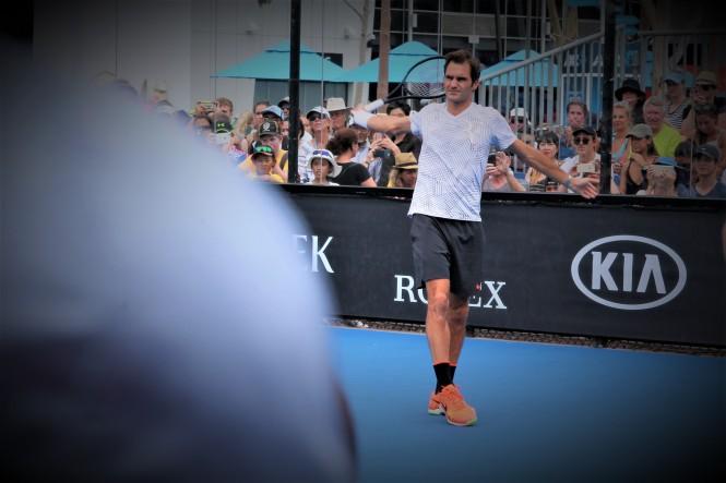 Federer AO entrainement